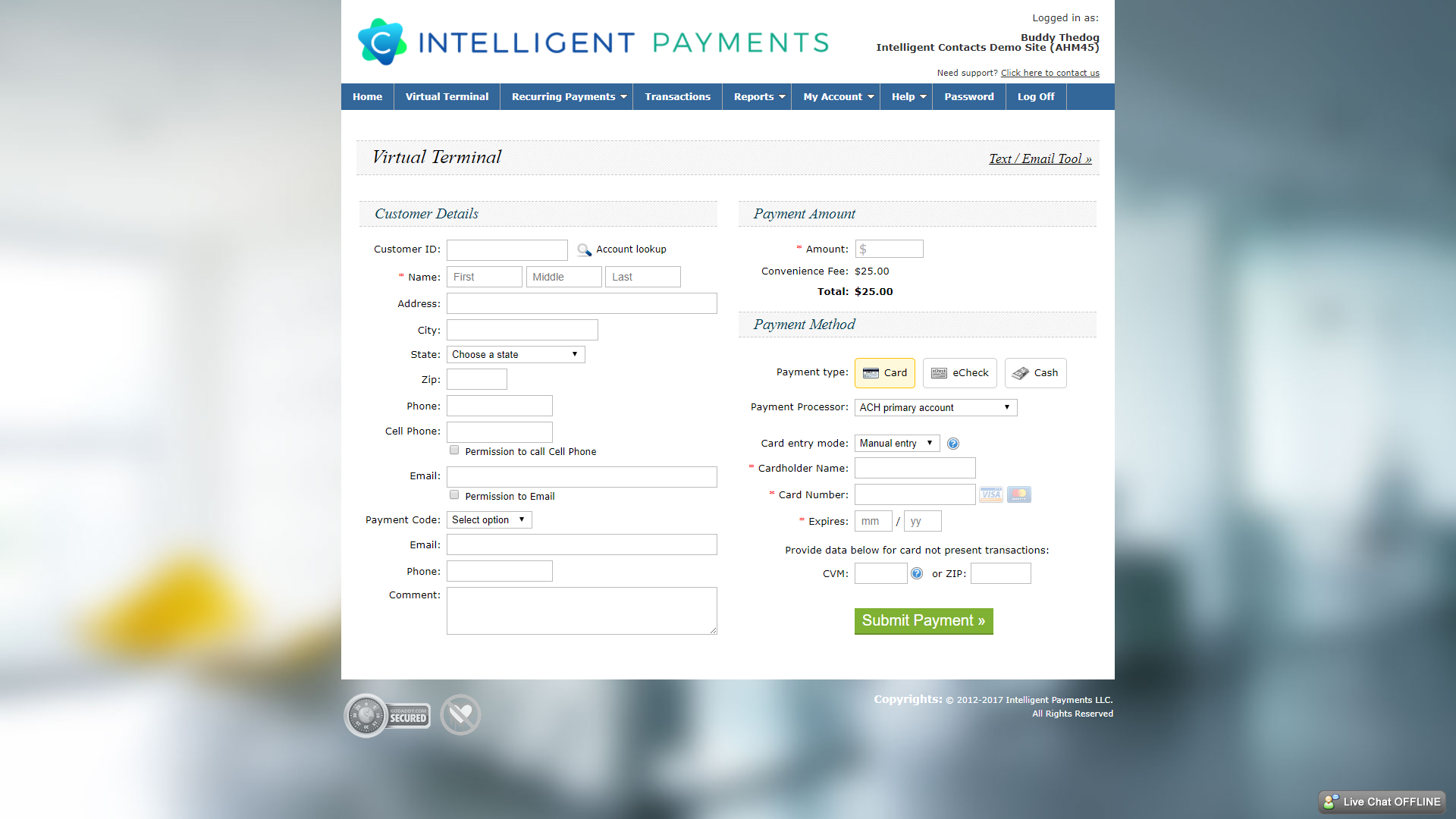 Take advantage of capturing, approving and processing payments in one place.